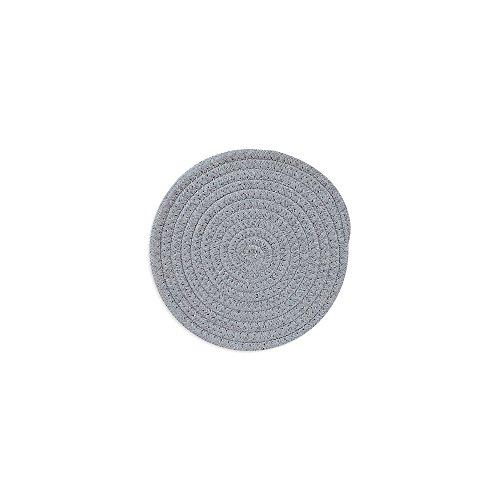 Lot de 2 fabriqué à la main en coton tissé spirale Maniques Sets de table Tapis de tasse Dessous de Plat, 11 cm/11 cm, gris clair, gris, Round 18cm