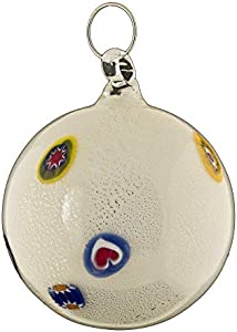 Bola de Navidad Bolas de Cristal de Murano Coloridas con murrinas y Hoja Plateada Excelente Idea Regalo