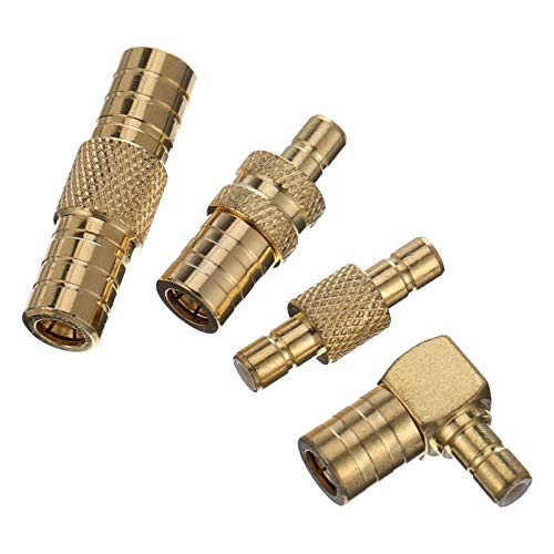 VICASKY 4 Adaptadores de Ángulo Recto Tipo F Pin F de Empuje Rápido Macho a Hembra Conector de 90 Grados para Montaje en Pared TV Placa de Pared Gabinete RV TV Y Cable Coaxial Conexión
