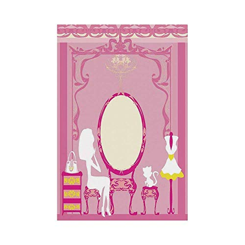 Polyester Garden Flag Outdoor Flag House Flag Banner,Girls,Lady Sitting in front of French Cosmetic Make Up Mirror Furniture Dressy Design,Pink Yellow,for Wedding Anniversary Home Outdoor Garden Decor