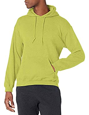Gildan Men's Fleece Hooded Sweatshirt, Style G18500, Safety Green, Large