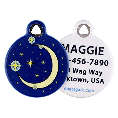 Dog Tag Art Cat or Dog Tag, Personalized Name Tag for Pets (Moon and Stars)-Large