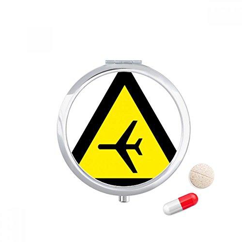 DIYthinker Waarschuwing Symbool Geel Zwart Vliegtuig Driehoek Reizen Pocket Pill case Medicine Drug Storage Box Dispenser Mirror Gift