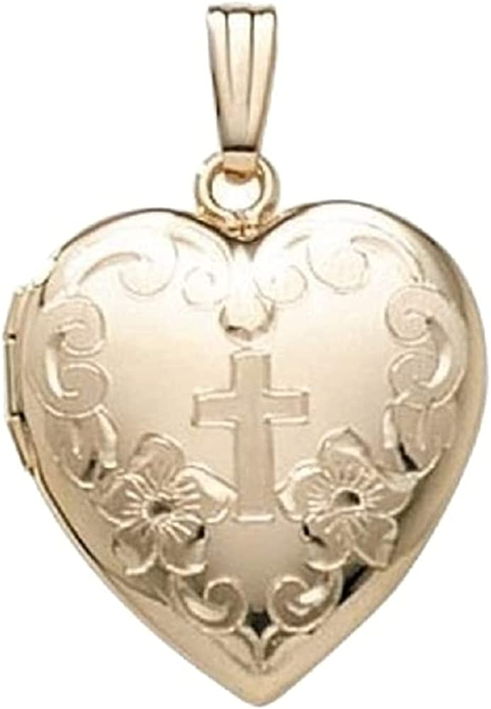PicturesOnGold.com 14K Gold Filled Cross Heart Locket - 3/4 Inch X 3/4 Inch