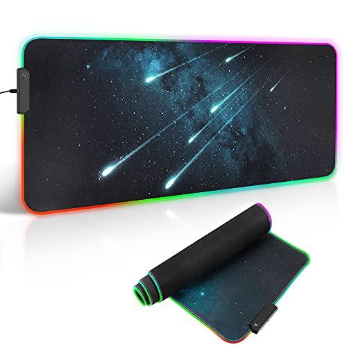ARCHEER Tapis de Souris RGB, Tapis de Souris Gamer 800x300x4mm Mouse Pad XXL Gaming Surface antiderapant et 12 Mode d'éclairage RGB 9 Couleurs pour Ordinateur Portable PC Bureau