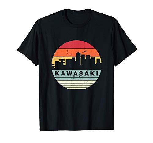 Silueta vintage del horizonte de Kawasaki Camiseta
