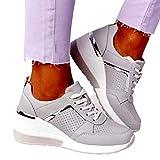 MIAOFA Zapatos para Correr para Mujer Zapatos de Verano para Mujer con cuñas de Plataforma Zapatillas con Cordones de Punta Redonda Zapatos para Caminar Antideslizantes,Gris,41