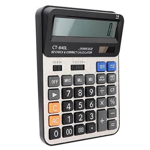 Calculadora solar, unidad de potencia dual, cómoda calculadora de 14 dígitos, duradera y suave para la oficina diaria y básica(black)
