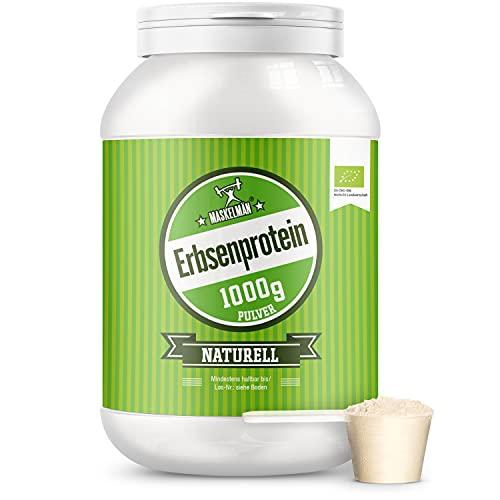 Maskelmän - Bio Erbsenprotein Pulver - Proteinpulver - 1000 g - Eiweisspulver inkl. Aller Essentiellen Aminosäuren - Zum Muskelaufbau - Reich an Lysin, Arginin, Calcium & Eisen - Naturell