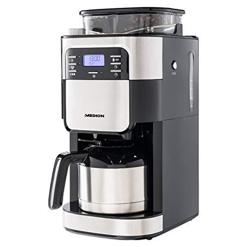 MEDION Kaffeemaschine mit Mahlwerk und Thermoskanne (Timer, 1 Liter, 900 Watt, Kaffeebohnenmahlwerk, 8 Mahlstufen, LED Display, Tropf Stopp, Isolierkanne, MD19777)