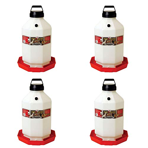 Little Giant PPF7 7 Gallon Capacity Hanging Automatic Poultry Waterer Dispenser for Livestock Chickens and Game Birds, Red (4 Pack)