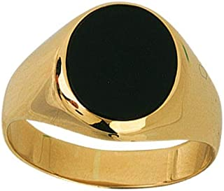 14kt Yellow Gold Signet Oval Onyx High Polished Ring