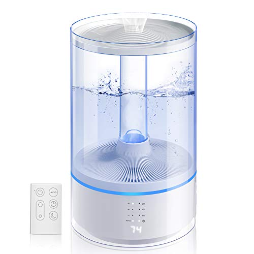 Gocheer Cool Mist Humidifier, 6L Ultrasonic Humidifiers for Bedroom Large Room, Essential Oil Diffuser Air Humidifier with Remote Control LED Display Auto Shut Off Auto Mode, Lasts Up to 65H (6L)