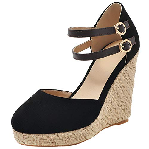 LOVOUO Espadrillas Chiuse Zeppa Mary Jane Decolte Donna con Cinturino alla Caviglia Fibbia Platform High Heels Pumps Wedge Sandals (40 EU, Nero)