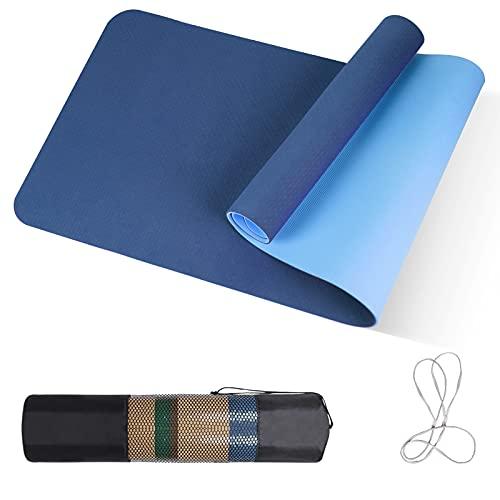 Yogamatte TPE, 183x61x0.6cm, Yoga Mat mit Tragegurt&Tasche, Fitnessmatte rutschfest, Trainingsmatte, Übungsmatte für Workout, Yoga, Pilates, Blau