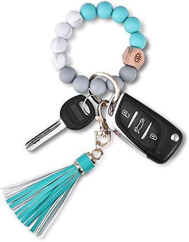 Senidea Schlüsselanhänger Armband Jadegrün Silikon Perlen Armreif Ketten für Damen Mädchen Frauen, Schlüsselring Armband für Autos Schlüssel