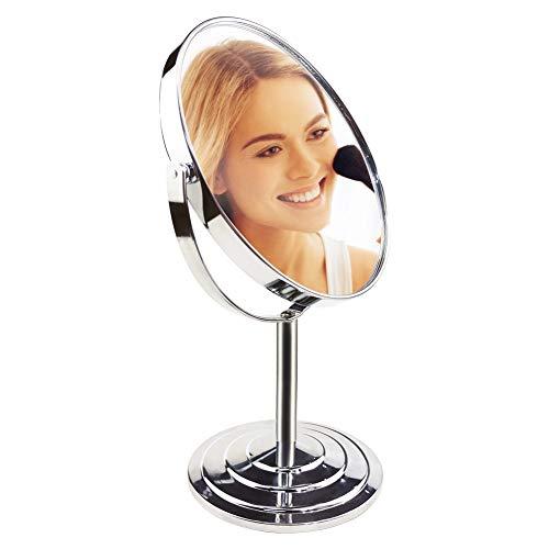 UMI. by Amazon Zweiseitiger Make-up Mirror Kosmetikspiegel, Durchmesser 17.3 cm,360-Grad-Drehung, 1x/3x Vergrößerung,Tischspiegel