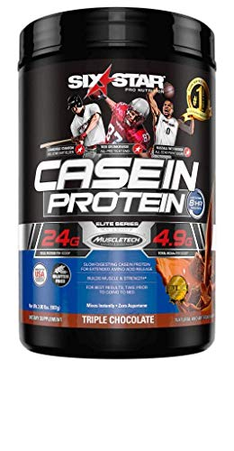 Six Star Elite Series Casein Protein Powder, Slow-Digesting Micellar Casein Protein for Extended Amino Acids Release, Chocolate, 26 Servings (2lbs)