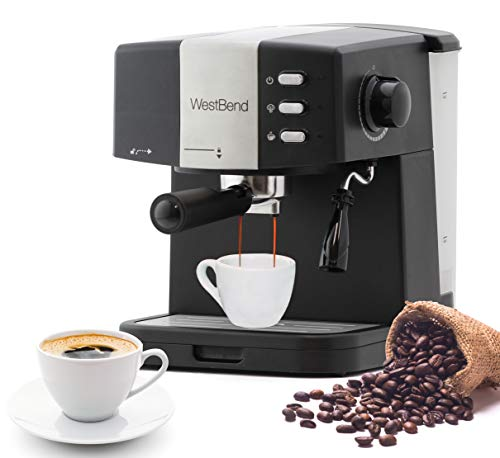 West Bend 55100 Machine 15 Bar Pressure Pump Espresso Coffee Latte and Cappuccino Maker with Dual Heating System, Black