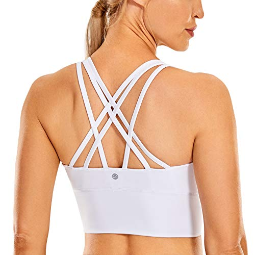 CRZ YOGA Strappy Sports Bras for Women Longline Wirefree Padded Medium Support Yoga Bra Top White M