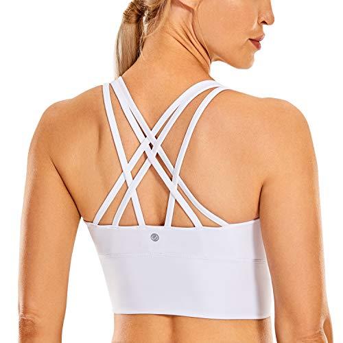 CRZ YOGA Mujer Sujetador Deportivo Yoga Strappy Copas Extraíbles Largo Top sin Aros Blanco_H160 M