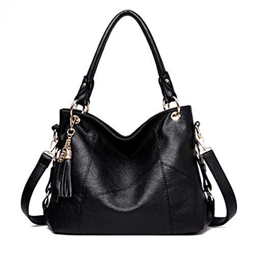 XYAZ Moda femenina simple hombro de mano colgado de cuero suave bolso casual de gran capacidad bolsa de borla,negro