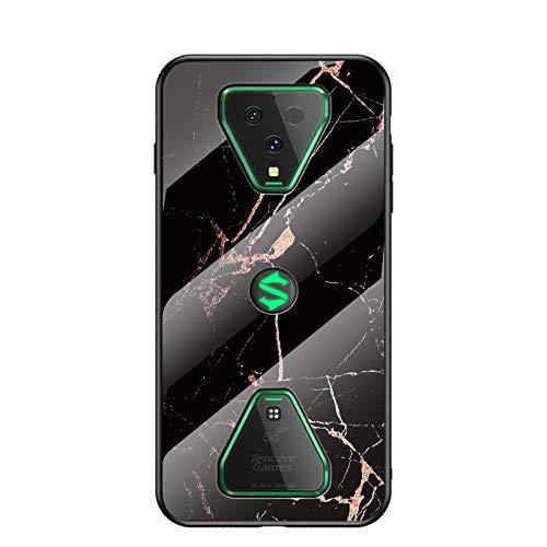 Hülle für Xiaomi Black Shark 3 Hülle,Marmor Gehärtetem Glas und Silikon Rand Hybrid Hardcase Stoßfest Kratzfest Handyhülle Dünn Hülle Handyhülle für Xiaomi Black Shark 3 (Schwarzes Gold)