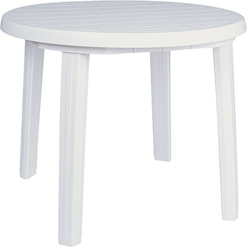 Compamia Ronda 36' Round Resin Patio Dining Table in White, Commercial Grade