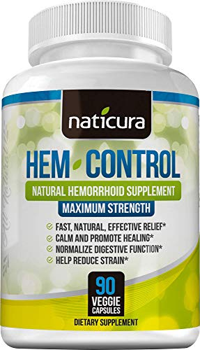 Naticura: Hem-Control Natural Hemorrhoid Supplement - Vegan Herbal Supplement with Psyllium Husks, Witch Hazel, and Ginger Root - 90 Count - Inflammation-Fighting Digestive Support