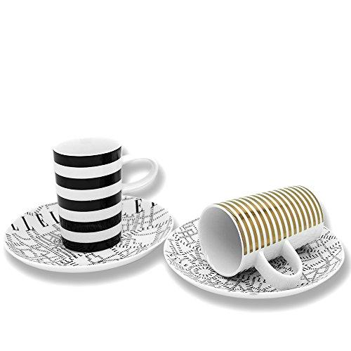 ELLE Plan de Paris Gold und Schwarz Espresso Tasse und Untertasse Set 2Stk