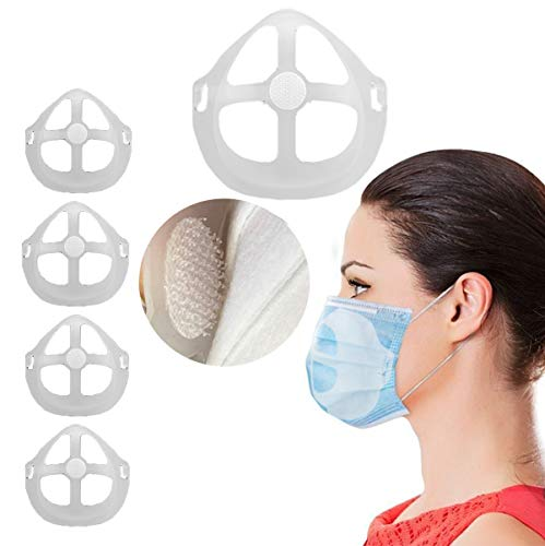 The latest design, 3D mask holder with velcro nose pads, breathing mouth and nose protection lipstick increases breathing space and helps to breathe smoothly (5 pieces) White