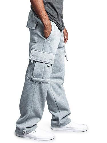 G-Style USA Men's Solid Fleece Heavyweight Cargo Pants FL77 - Gray - 2X-Large