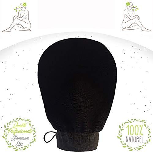 Guante exfoliante Kessa-Nouméro-Black, ideal para un exfoliante corporal y facial - Exfoliación natural - Limpia y purifica la piel en profundidad - Paño de baño y Spa marca francesa (Negro).