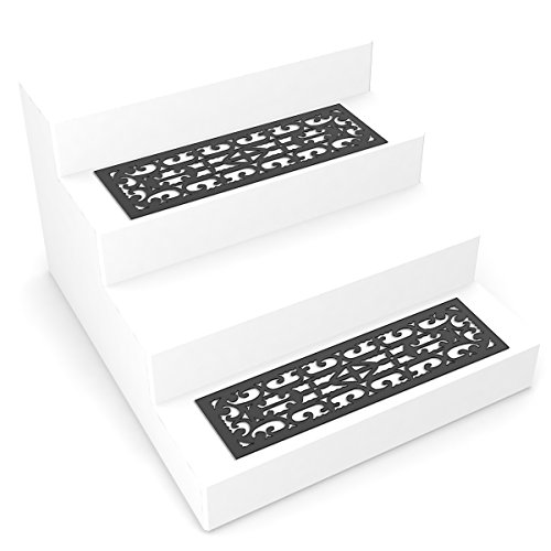 Pure Garden 82-YJ440B Non-Slip Stair Traction Control Grip Heavy Duty Rubber Tread, Ornate Design for Indoor/Outdoor Use, Mat Pads, Set of 2, Black