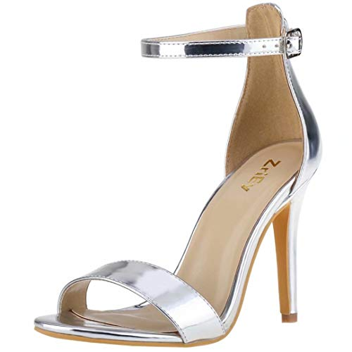 ZriEy Women's Heeled Sandals 4 Inches Silver Open Toe Stiletto High Heels Ankle Strap Fashion Bridal Party Wedding Pump Shoes Size 7