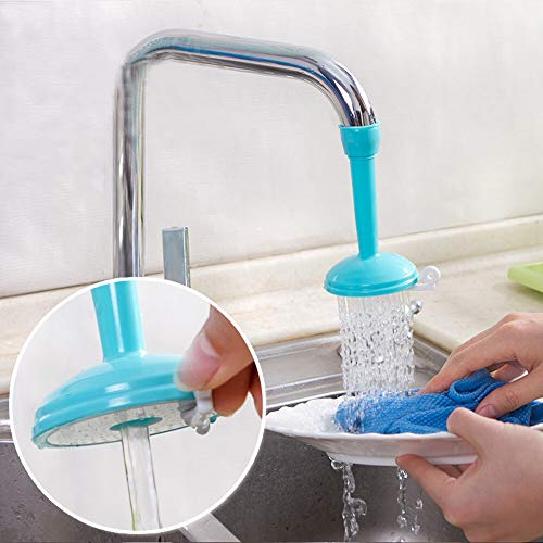 Meijin Extensor de grifo Adaptador de filtro de boquilla Difusor de grifo giratorio de ahorro de agua Conector de filtro de grifo de cocina popular (Color: Azul)