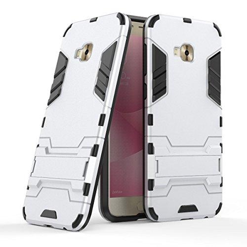 Hülle für Asus ZenFone 4 Selfie Pro ZD552KL (5,5 Zoll) 2 in 1 Hybrid Dual Layer Shell Armor Schutzhülle mit Standfunktion Case (Silber)