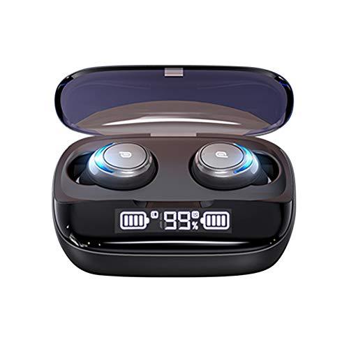 Auriculares Bluetooth inalámbricos 5.0, con graves 3D, con control táctil estéreo de audio estéreo con micrófono, funda de carga inalámbrica, inteligencia digital, pantalla LED