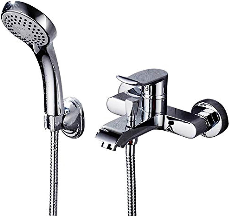 LHY BATHLEADER Einhebel-Badewannenarmatur, Wannen- und Brausemischer aus Chrom, Wandbrause, Leicht zu reinigen, Einfache InsGrößetion