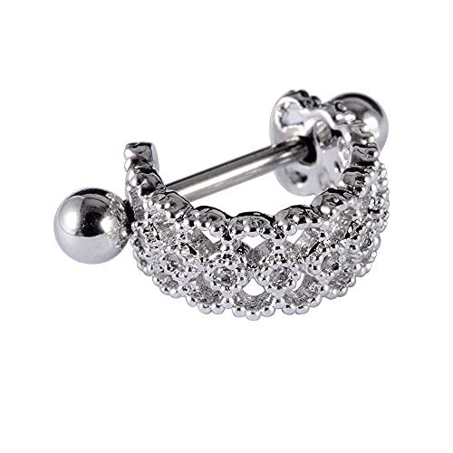 XKMY Pendientes regalos para mujer 1 pieza de acero quirúrgico con aro oreja, tragus, cartílago, hélice, tuerca, piercing para mujer, lóbulo (color metálico: V)