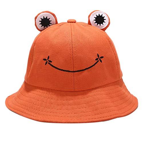 COMEYER Niños Niños Cute Cartoon Rana Animal Bucket Hat Color sólido ala Ancha Protección Solar Empacable Ajustable Playa Vacaciones Gorra de Pescador