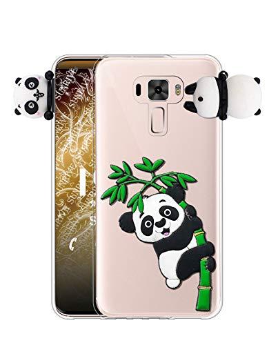Sunrive Kompatibel mit Asus Zenfone 3 ZE520KL Hülle Silikon, Handyhülle Transparent Schutzhülle Etui 3D Hülle Backcover (W1 Panda 2) MEHRWEG+Gratis Universal Eingabestift