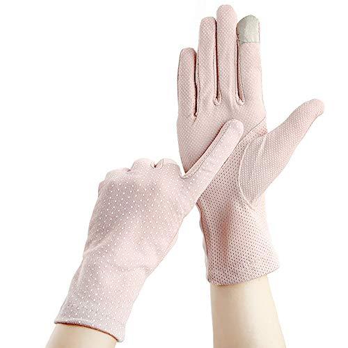 GATTORO Damen Uv-Schutz Fahrhandschuhe Baumwolle Anti-Rutsch-Fahrradhandschuhe Touchscreen Telefinger Handschuhe Sonnenschutz Vintage Handschuhe|Rosa|