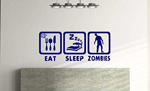 Adhesivo decorativo para pared, diseño de zombies, 57 cm x 24 cm, color azul