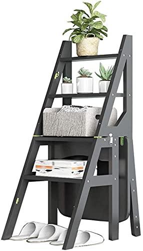 Taburetes de escalones para adultos de madera de madera 4 escaleras para el hogar en el interior, la silla de la escalera convertible Banco de la biblioteca plegable de la biblioteca Ascend Ladder Lig