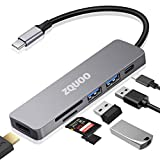 USB C Hub Multiport Adapter, 7 in 1 USB C to HDMI Multiport Adapter Compatible for USB C Laptops Nintendo and Other Type C Devices (4K HDMI USB3.0 SD/TF Card Reader 100W PD) (Gray)