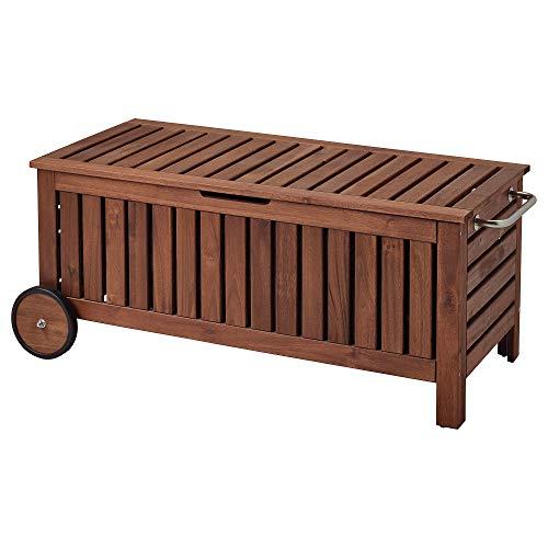 ÄPPLARÖ banco de almacenamiento exterior 128x57x55 cm marrón teñido