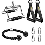 DYNASQUARE Tricep Rope Cable Machine Attachments, LAT Pulldown Attachments, with Double D Handles, Resistance Bands Exercise Handles, Accessories for Pull Down, Arm Strength Training, Home Gym