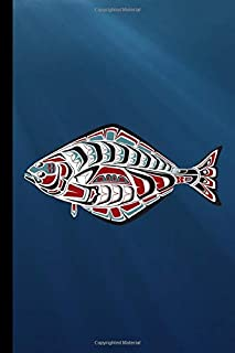Tribal Halibut Fish: PNW Native American Indian Formline Totem, Haida Tribe Style Fisherman Art, Medium Ruled Lined Notebook - 120 Pages 6x9 Composition Journal