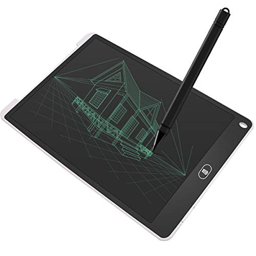 Jinxuny LCD-bureaublad 12 inch (ABS-beeldscherm, digitaal, ultradun, draagbaar schrijf- en tekenplank, papierloze handschrift, lichtgewicht tablet voor kinderen, thuis, schoolkantoor (zwart) 12 Zoll wit